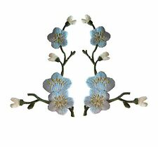 Lot 2Pcs Blue Quince,Sakura Flower Embroidery Iron On Applique Patch-Left&Right