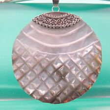 "2"" Round Natural Mother of Pearl Shell Handmade Pendant 925 Sterling Silver"