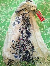 NWT LILLY PULITZER FOR TARGET LFT FRINGE SCARF WAVE POOL WHITE NAVY NAUTICAL