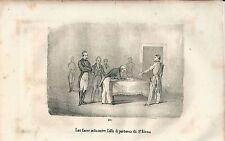 1846 LAS CASES SOTTOSCRIVE ATTO PARTENZA SANT'ELENA litografia Napoleon