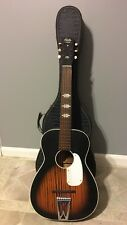 Vtg Circa 1966 Harmony Stella Acoustic Parlor Guitar H929 Sunburst With Case