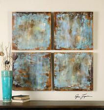 FOUR NEW RICH HAND PAINTED CANVAS ABSTRACT PANELS PAINTING WALL ART MODERN