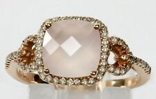 Pink Quartz Ring with 0.26cts Diamond in 14k Rose Gold
