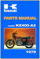 KAWASAKI Parts Manual KZ400 deluxe A2 1978 Replacement Spares List Catalog
