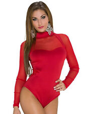 New red long sleeve bodysuit leotard teddy lingerie dance wear size M UK 10-12