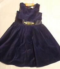 Gymboree Holiday Shine Size 5 Sleeveless Lined Navy Velveteen Dress Fancy NWT