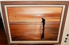 """M.GELDER """"CLAM DIGGER"""" ORIGINAL OIL ON CANVAS SEASCAPE PAINTING WITH APPRAISAL"""