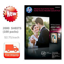 NEW 2000 SHEETS (100 PACKS) HP Premium Plus Photo Paper High Gloss 4 x 6 Inches