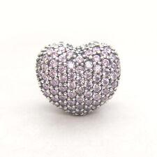 Authentic Pandora S925 Open My Heart Pink CZ Pav. Clip Charm. 791427PCZ