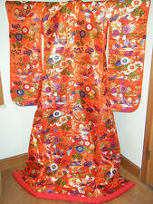 Vibrant Red Silk Japanese Uchikake Wedding Kimono w/ Mandarin Ducks & Floral
