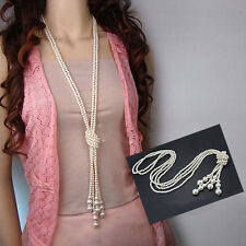 Lady Vintage Fashion White Artificial Pearls Long Sweater Chain Charms Necklace