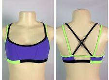 Lululemon Ignite Bra Size 6 Power Purple Black Ziggy Green NWOT Swim Fabric