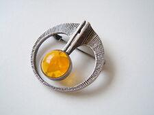 Seltene Fischland Designer Brosche 835 Silber Pressbernstein  6,6 g