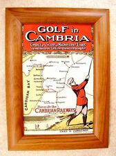 RARE REPRODUCTION CARD PRINT OF AN ANTIQUE EDWARDIAN ADVERT FOR GOLF IN CAMBRIA