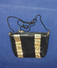 Vintage Black Metallic Gold Aluminum Mesh Evening Bag Purse Handbag Clutch Chain