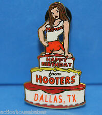 HOOTERS RESTAURANT GIRL HAPPY BIRTHDAY CAKE FROM HOOTERS LAPEL PIN - DALLAS, TX