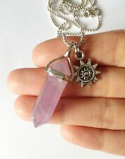 Amethyst Point Necklace Pendant Silver Boho Aztec Sun Charm Crystal Natural NEW