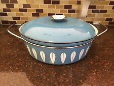 Cathrineholm Blue Enamel Lotus Dutch Oven Casserole Pot with Lid  3 Quart