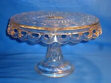 VINTAGE GLASS CAKE STAND ~ PEDESTAL W/ OPEN LACE EDGE & RUM WELL ~ WEDDING PARTY
