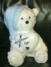 PERSONALISED SLEEP TIGHT BLUE BOYS SNOW TEDDY BEAR BIRTHDAY GRAVE MEMORIAL