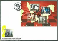 CENTRAL AFRICA 2014  CHESS PIECES  SHEET  FIRST DAY COVER