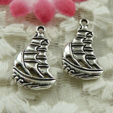 free ship 110 pieces Antique silver sailing boat charms 22x12mm #3968