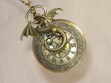 DRAGON Game Of Thrones Inspired Bronze Pocket Watch Necklace Winter is Coming !