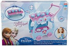 DISNEY FROZEN TEA PARTY TROLLEY GIRLS 2 IN 1 TRAY PRINCESS SERVING *HOT SELLER*
