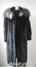 Women's Sz 16/18 Mink Fur Coat with Silver Fox Fur Collar SUPERB