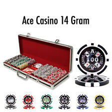 New 500 Ace Casino 14g Clay Poker Chips Set Black Aluminum Case - Pick Chips!