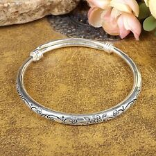 Tibetan Silver Vintage Bangle Carved Plum Blossom Women Bracelets Adjustable1PCS