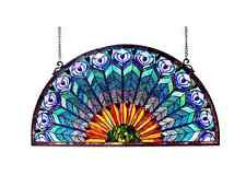 Stained Glass Panel for Windows Tiffany Style Panels Half Round Peacock Design