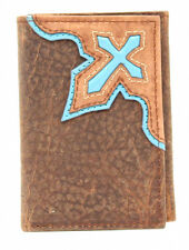 Nocona Western Mens Wallet Trifold Leather Blue Cross Overlay Brown N5415402