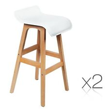 2x PU Leather Bar Stool Kitchen Cafe Chair Fixed Chrome Timber Leg White