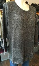 MARIE SIXTINE CHARCOAL GREY SILVER METALLIC CHUNKY KNIT JUMPER S/M 10/12 £110