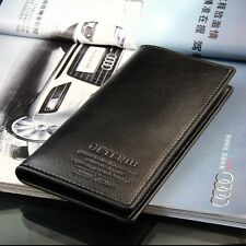 New Mens Long Casual Leather Wallet Pockets Card Clutch Cente Bifold Purse Black