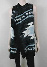 BCBG Maxazria Tribal Knit Cardigan Wrap Open Front Sleeveless Black M
