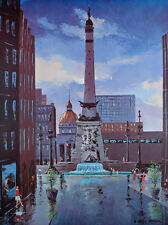 Vintage MINT Indianapolis INDIANA Soldiers and Sailors Monument ART PRINT Poster