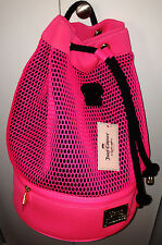 Juicy Couture Mesh Scuba Sling Bag Large Travel Gym Drawstring Pink Black NWT