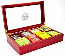 Indianteacompany ITC  Red Wood Finish with Clear Lid, Tea Chest 80 Twinings Bags
