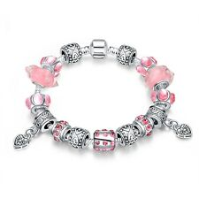 Señora pulsera CHARM beads Pink circonitas 20cm PL. con Sterling plata t:: a