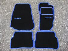 Car Mats in Black with Blue Trim to fit Mazda RX8/RX-8 (2003 on) + RX-8 Logos