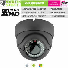 4MP 2.8-12mm 1080P ONVIF P2P 30M IR AUDIO GREY DOME POE IP SECURITY CAMERA CCTV