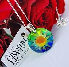 925 STERLING SILVER CHAIN NECKLACE SWAROVSKI ELEMENTS SUN VITRAIL MEDIUM FROSTED