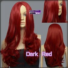 60cm Dark Red Heat Styleable No Bang Curly wavy Cosplay Wigs 38_DDR