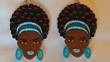 Black Diva with blue headband & lip color afro (natural hair) wood earrings