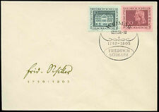East Germany 1959 Schiller Poet FDC First Day Cover #C32808