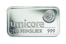 Silberbarren 20 Gramm Umicore 999 Feinsilber 20g silverbar lingotti argento
