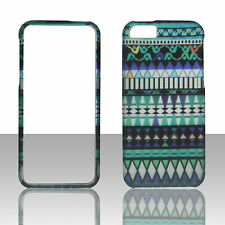 Tribal Pattern Turquoise  for Apple iPhone 5 5S Rubberized Feel Case Cover