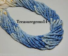 """3-4mm. 100% NATURAL WHITE BLUE OWYHEE OPAL MICRO FACETED BEAD 13""""STRAND GEMSTONE"""
